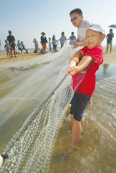 海边拉网捕鱼