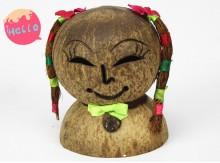 海南特色工艺品椰壳椰雕椰子妹女面娃娃